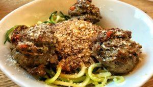 Zucchini Spaghetti and Meatballs springbowl