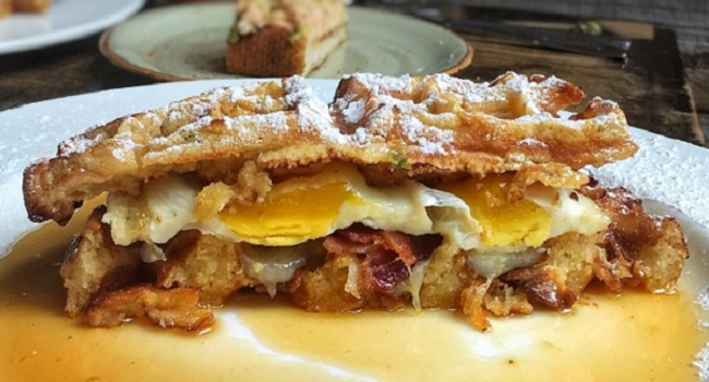 Bacon, Egg and Cheese Waffle Sandwich and Bloody Marys | Food 'n ...
